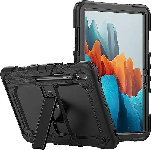 SaharaCase Defense Protection Case for Galaxy Tab S7 Plus [Shockproof Bumper] Handle Kickstand Stylus Pen Holder Rugged Protection Anti-Slip - Black