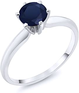 Blue Sapphire 14K White Gold Women's Engagement Solitaire Ring 1.00 cttw (Available 5,6,7,8,9)