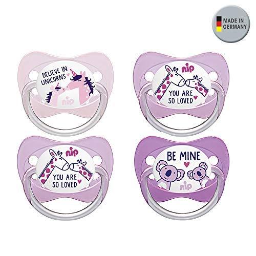 NIP Latex NaturLatex Schnuller mit Spruch 4 Stück Mädchen Gr.1 0-6 Monate ab Geburt