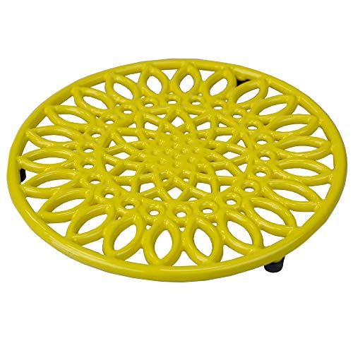 Home Basics Sunflower Collection Heavy-Duty Cast-Iron Trivet for Serving Hot Dish, Pot, Pans & Teapot on Kitchen Countertop Dinning Heat Resistant, Yellow