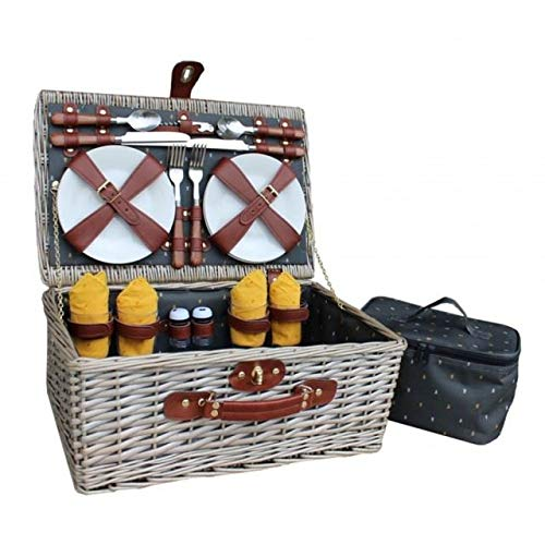 Red Hamper Antique Wash Wicker Nature Pattern 4 Person Fitted Picnic Basket