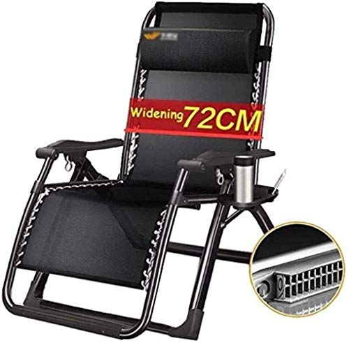 DAGCOT Chair Sun Lounger Leisure with Pillows Reclining Garden Deck Sun Lounger Balcony Folding with Cup Holder Wide Seat Zero Gravity Detachable Neck Pillow (Color : Black)