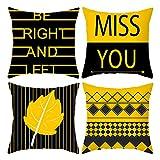 Bajotien Kissenbezug 45 x 45 cm Set mit 4 Kissenbezügen für Sofa, Schlafzimmer. Auto Dekokissen Outdoor Kissen Sofakissen