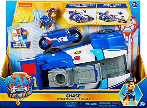 PAW Patrol Paw Patrol Chases 2-in-1 Polizeicruiser aus dem Kinofilm, Deluxe Verwandlungsfahrzeug, mit Spielfigur und Motorrad, ab 3 Jahren