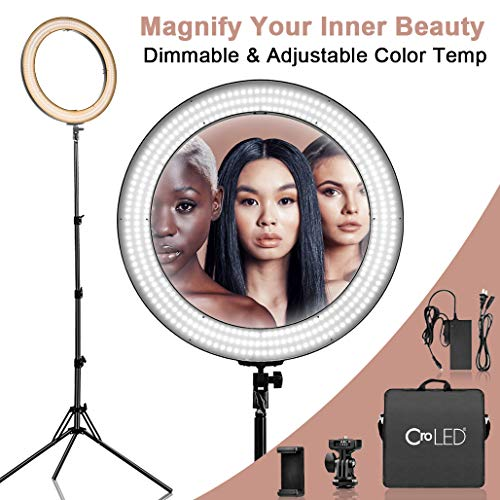 Dimmable 18 Inch Makeup LED Ring Light - 3200-5600K Warm to White Soft Light w/LCD Display for Precise Adjustment, USB Power Output, Camera Phone Holder &Carrying Case for Selfie YouTube Studio Video