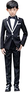 Cozy Maker(C&M)スーツセット 男の子 フォーマル 入学式 上下セット 子供服 ジュニア キッズ 男児 卒園式 入園式 結婚式 発表会 卒業式 喪服 紳士服 ブラック 無地 3点セット コート+パンツ+ネクタイ