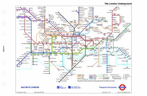 Filofax Personal Karte U-Bahn-Netz von London