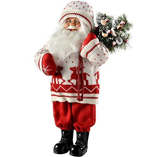 WeRChristmas–Figura Decorativa de pie de Papá Noel con decoración de Navidad, Disfraz, 47cm, Color Rojo/Blanco