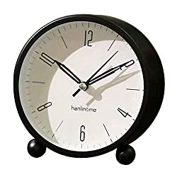 Black Temptation Round Silent Alarm Clock Battery Operated Light Functions [A]