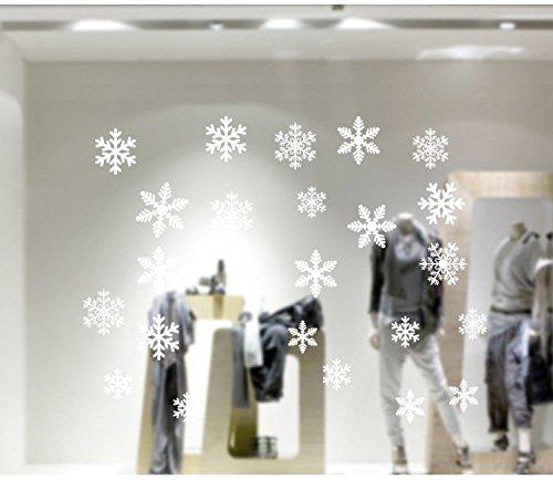 Tiddy 54Teile Weiß Schneeflocken Fenster klammert Sich an, Winter Sticker Schneeflocke Aufkleber für Winter und Weihnachten Fensterdekoration 2Blatt 2 Sheets Weiß