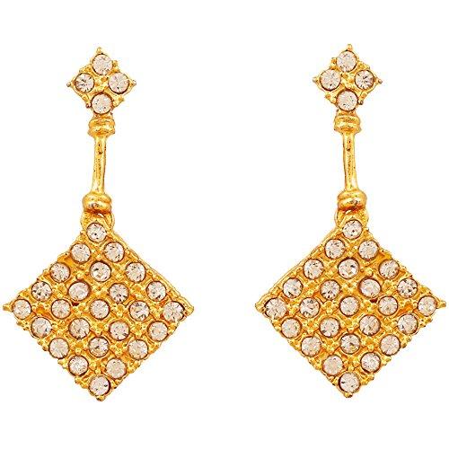 Touchstone chapados en oro Pendientes atractiva para las mujeres