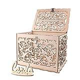 ANSUG Hochzeitskartenkiste aus Holz, DIY Vintage Hollow Kartenboxen mit Schloss und Card Sign für...