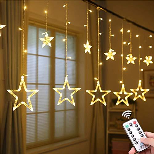 CHHD Rubans à LED,Star Curtain Rubans à LED Lights, 12 Stars 138 LED Window Fairy Rubans à LED Lights with 8 Modes Remote USB for Christmas Home Decor (Blue)