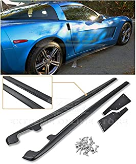 Extreme Online Store Replacement for 2005-2013 Chevrolet Corvette C6 Base Models | ZR1 Style Side Skirts Rocker Panels Extension with Mud Flaps Pair (ABS Plastic - Primer Black)