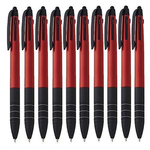 10er Set Dreifach Kugelschreiber drei Farben Blau Rot und Schwarz und Touchpen Eingabestift4in1 Schreibgerät von notrash2003® (Rot)