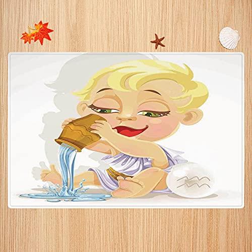 Alfombra de baño Antideslizante,Astrología, Bebé Acuario Icono del Zodíaco Jugando Agua y Cuenco Joy Magic Saturno Planeta Decora Apto para Cocina, salón, Ducha (50x80 cm)