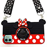 iPhone 11 Case Cute iPhone 11 Case Minnie Mouse 3D Carton Camera with Rotating Ring Grip Holder Kickstand Lanyard Teens Girls Women Kids Soft Silicone Rubber Phone Case Cover for iPhone 11-6.1' (11)