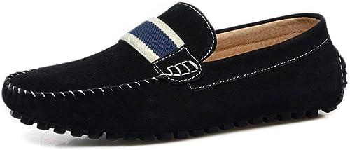 Herren Mokassins Schuhe, Herren Driving Loafers Wildleder Echtes Leder Penny Comfort Mokassins Slip-on Stiefelschuhe (Farbe   Schwarz Größe   43 EU)