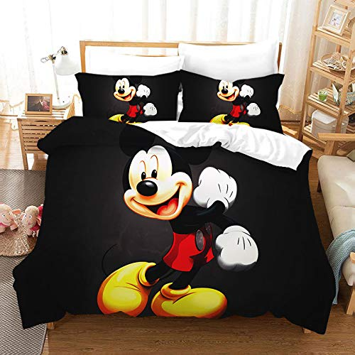 ZZALL Mickey Minnie Mouse,3 Sets of 3D Printed Bedding (1 Quilt Cover and 2 Pillowcases) Three-Piece Bed, Cute Shape, Soft and Comfortable, is The Best Gift (Queen 229229cm, Mickey Mouse 10)
