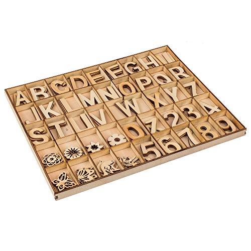 phiLuMo 132 x Holz-Buchstaben, Zahlen & Symbole - 35 mm hoch - im praktischen Holzkasten