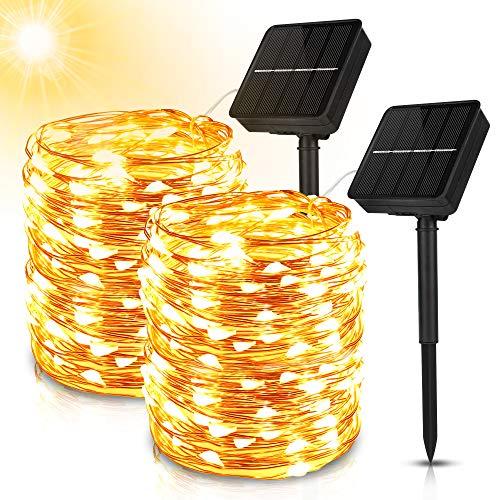 Guirnalda Luces Exterior Solar, 2PC 20M 200 LED Cadena de Luces, 8 Modos Guirnalda de Luz Solar Exterior, IP65 Impermeable Cadena Luces Solar con Alambre de Cobre para Jardín, Arboles, Bodas, Fiestas