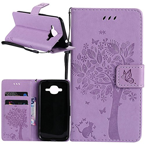 J1 2016 Case, Galaxy Amp 2 Case, Galaxy Express 3 Case, Harryshell Cave Tree Cat Wallet Flip Leather Case Cover with Card Slot & Wrist Strap for Samsung Galaxy J1 2016/Amp 2/Express 3/Luna (B-011)