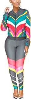 Women Sexy Jumpsuit V Neck Long Sleeve Zipper Active Top Solid Stripes Slim Fit Long Pants Sport Bodycon Sweatsuit