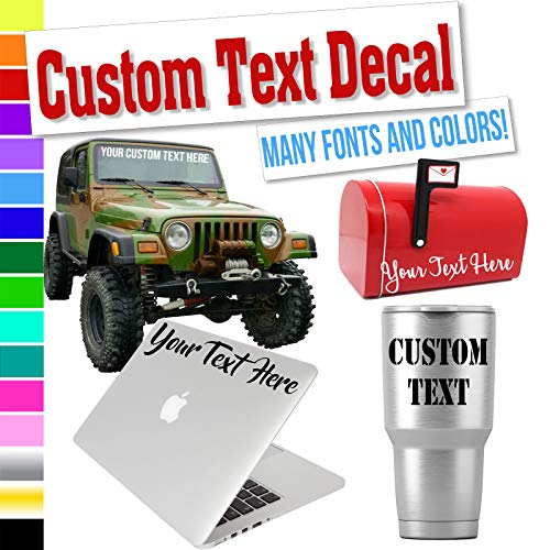 Custom Decal Text Name Sticker Compatible with Yeti Tumbler Cup, Laptop, Phones, Boats, Helmets, Bottles, Cars and Vehicles (Glitter Colors Available)