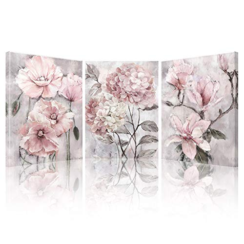 SUMGAR Pink Wall Art Flowers Canvas Prints Floral Pictures Modern Hydrangea Peach Poppy Blossom Bloom Paintings Grey Artwork Framed for Bedroom Bathroom Living Room Home Wall Decor 30x40cm 3 Panels