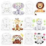 Jungle Animals Fondant Silicone Molds Sugarcraft Cake Decoration 6-count Height 2.6-3.6inch