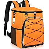 SEEHONOR Insulated Cooler Backpack 45 Cans Leakproof Soft Cooler Bag Lightweight Large Capacity Backpack Cooler for Lunch Picnic Fishing Hiking Camping Park Beach (Orange)
