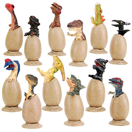 BeebeeRun 12Pcs Mini Dinosaur Figure Eggs Model Toys Set, Realistic Stand Half-Hatched Dinosaur Eggs with Base for Kids Party Favors Decorations Gifts Toys 3+