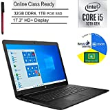 "2020 HP 17 17.3"" HD+ Laptop Computer_ 10th Gen Intel Quad-Core i5 1035G1 (Beats i7-7500u)_ 32GB DDR4_ 1TB PCIe SSD_ DVDRW_ Online Class Ready_ Webcam_ Microphone_ Windows 10_ BROAGE 64GB Flash Drive"