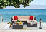 Flamaker 5 Pieces Patio Furniture Set Outdoor Sectional Sofa Patio Sofa Conversation Sets with Ottoman and Cushions