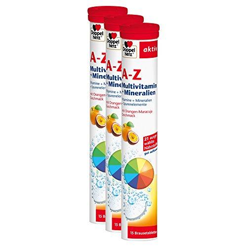 Doppelherz A-Z Brausetabletten mit Orange-Maracuja Geschmack – Multivitamin-Nahrungsergänzungsmittel mit vielen wichtigen Vitaminen, Mineralstoffen & Spurenelementen – 3 x 15 Brausetabletten