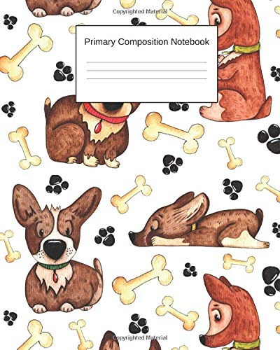 Primary Composition Notebook: Story Paper Journal Grades K-2 & 3 - Dashed Midline and Picture Space School Exercise Book 100 sheets - Soft dog cover printed front and back - Add On Item