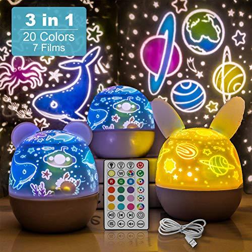 Einsgut decoración proyector Estrella Recargable luz Nocturna para niños 5 LED 20 Colores, lámpara giratoria LED Fiesta, habitación Infantil, Navidad