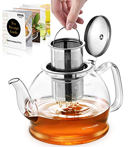 STNTUS Glass Teapot, 27 oz. / 800 ml Teapot, Glass Tea Pot for Loose Tea, Glass Teapot with Infusers for Loose Tea, Tea Pot for Stove, Teapot with Stainless Steel Strainer
