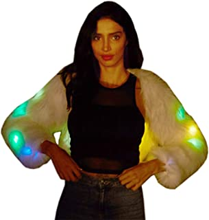 Beauty Hair Womens Led Light UP Costumes Luminous Coat Dance Show Faux Fur Coat Nightclub Christmas Outwear Jacket for Women