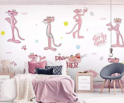 Roze luipaarden conarikatuurbehang wandpaneel wandschilderij kamer achtergrond wanddecoratie wandschilderij behang (H)350*(W)245cm Pro