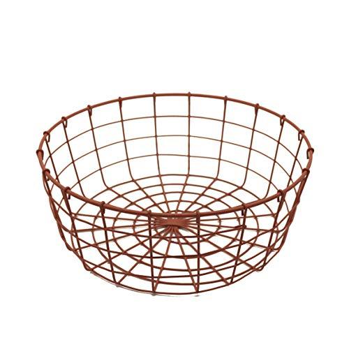CVHOMEDECO. Panier à fruits rond en fil métallique avec poignée Style vintage Rose 26 x 10 cm
