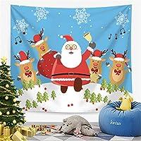 クリスマスタペストリーの壁掛け家の装飾、漫画のプリントクリスマスツリーとサンタクロースのテーブルクロス、テーブルクロスのリビングルームの寝室の装飾,7,200*150cm