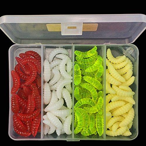 Qiyun leurres Pêche Accessoires Pêche, 100pcs/set Soft Silicone Worm Bait Sea Fishing Tackle wobbler Fishing lure avec boîte Tackle