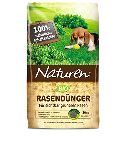 NATUREN Bio Rasendünger für 500qm 20 kg, Volldünger, Langzeitdünger