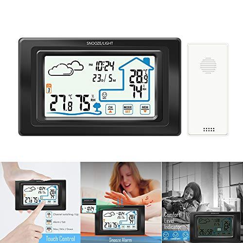 Fornorm Touchscreen weerstation met buitensensor, digitale thermometer, hygrometer, alarm & sluimerfunctie, USB & batterijvermogen, °C/°F, 12/24u, kalender zwart