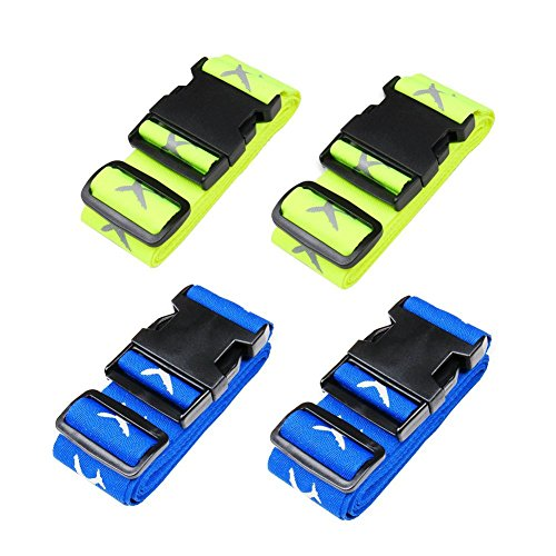 Luggage Strap Suitcase Belts Travel Accessories 4-Pack(Blue&Green)