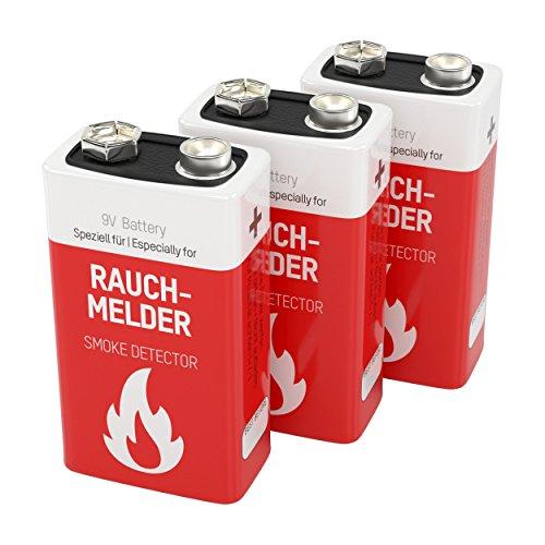 3 ANSMANN Lithium longlife Rauchmelder 9V Block Batterien - Premium Qualität für höhere Leistung, 9V Batterie ideal für Feuermelder, Bewegungsmelder, Alarmanlagen & Kohlenmonoxid Warnmelder