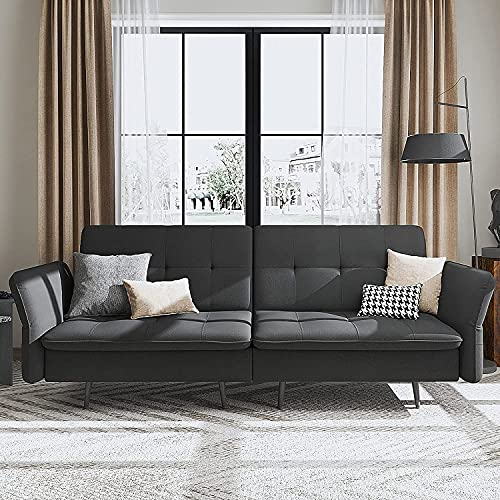 Belffin Velvet 2 Seater Sofa Bed with Memory Foam Futon Sofa Bed Double for Adults Small Sofa Bed Grey