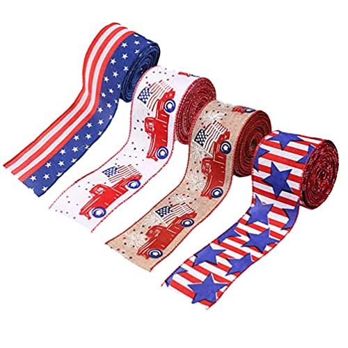 ABOOFAN 4 Piezas de Cinta de Arpillera de La Independencia Cinta Patriótica Borde Cableado Cinta Rayas Estrellas Bandera de EE. UU. para La Decoración del 4 de Julio
