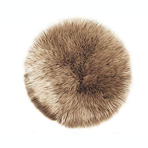 Lammfell-Teppich Kunstfell Schaffell Imitat | Wohnzimmer Schlafzimmer Kinderzimmer | Als Faux Bett-Vorleger oder Matte für Stuhl Sofa (Mokka, 30 cm - Rund)